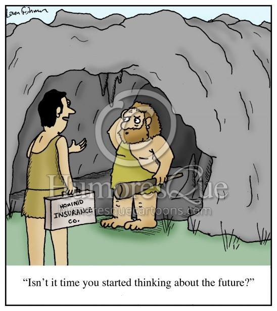 hominid insurance salesman cartoon