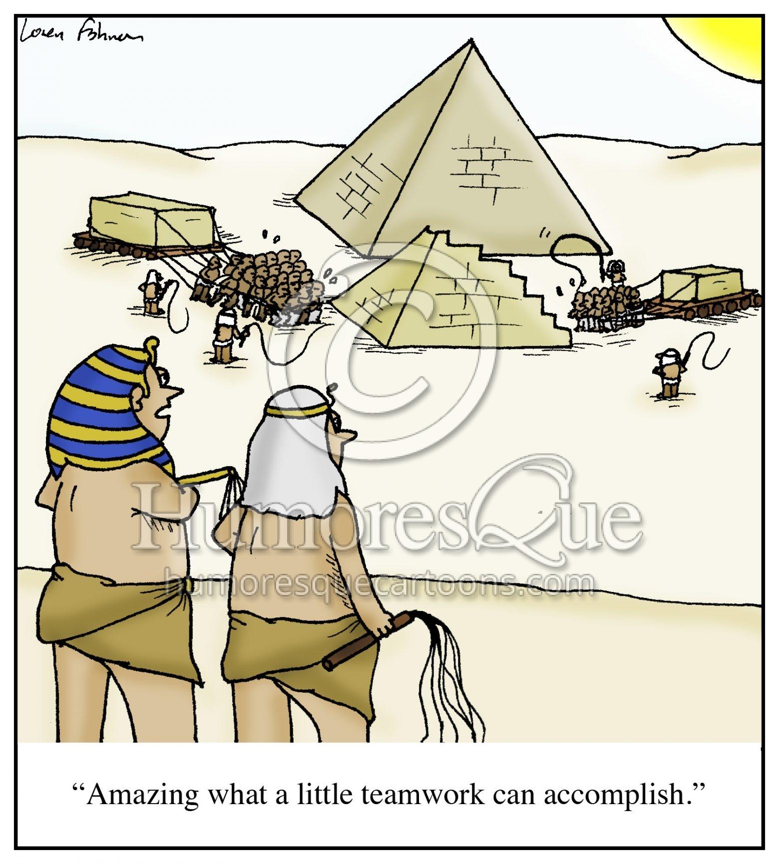 pyramid teamwork cartoon
