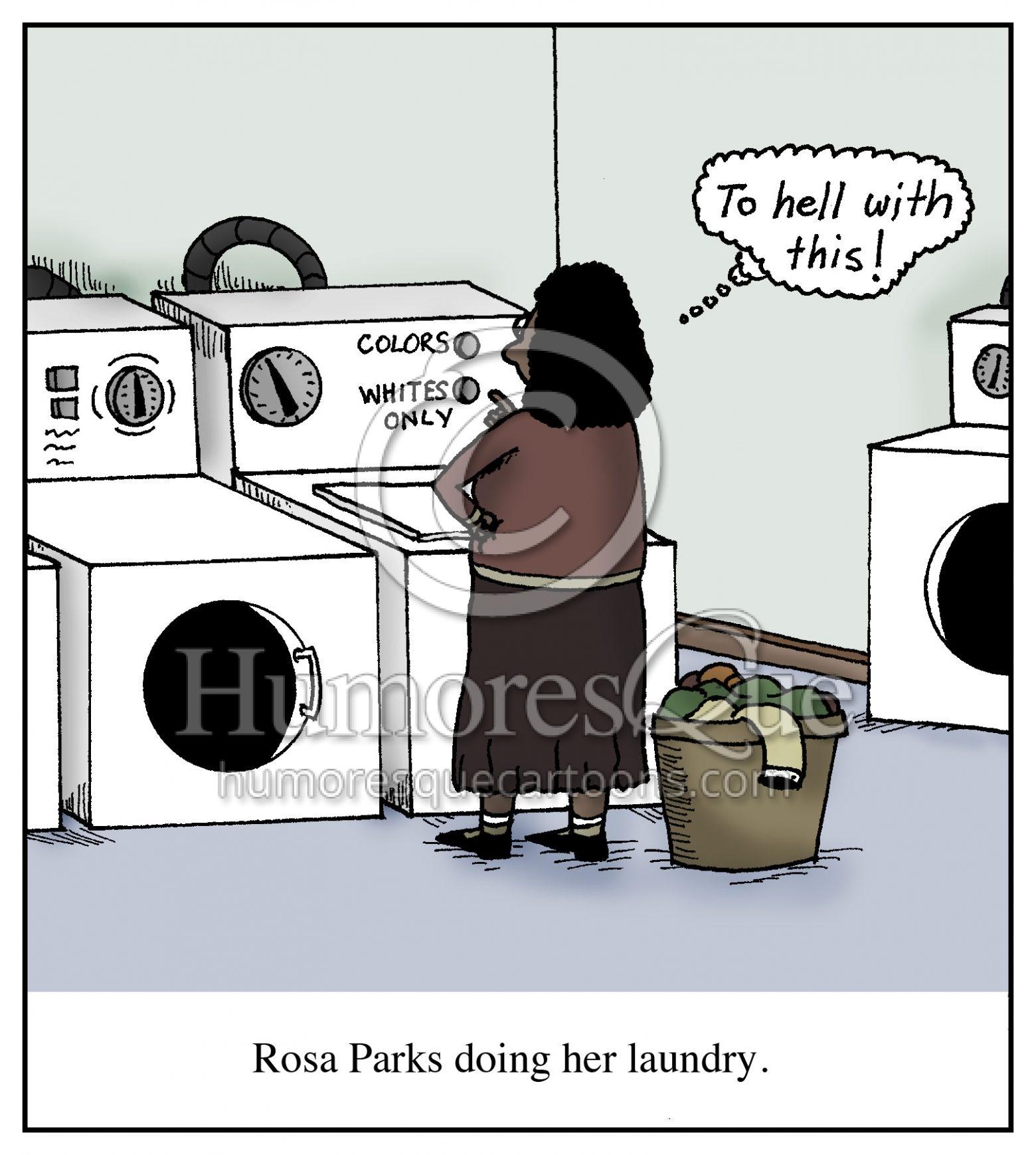 rosa parks doing laundry cartoon