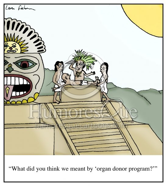 organ donor aztec sacrifice cartoon