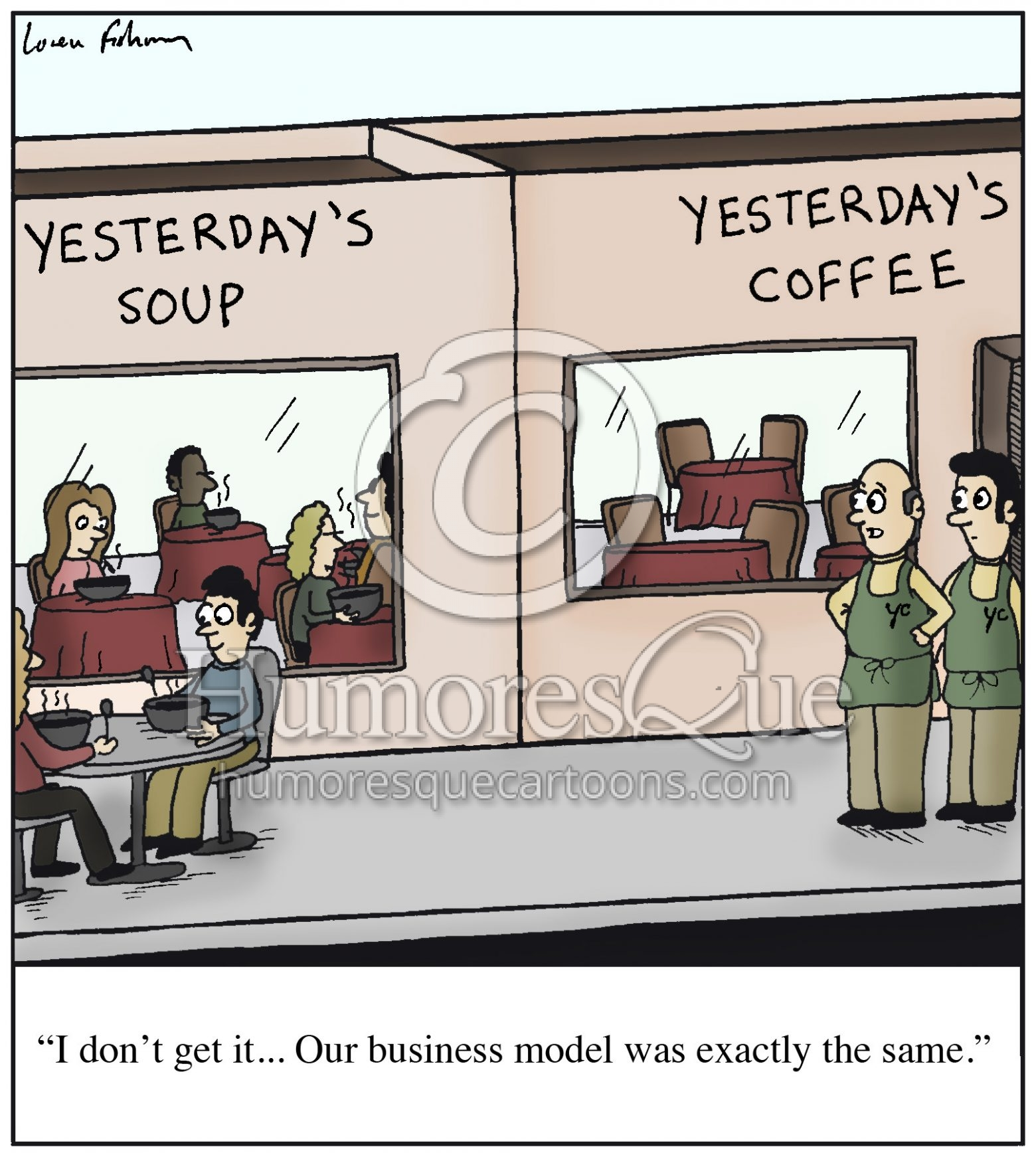 yesterday's coffee business model failure cartoon