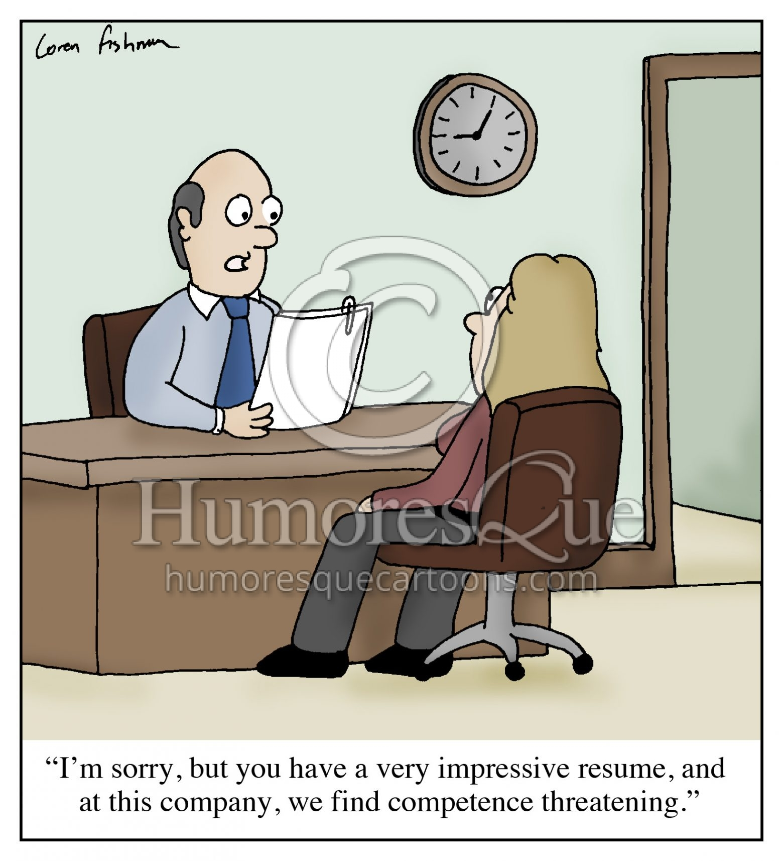 competence threatening hr job interview cartoon