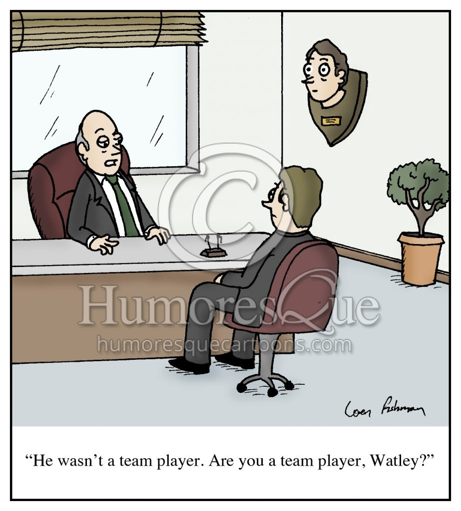 team player taxidermy boss cartoon