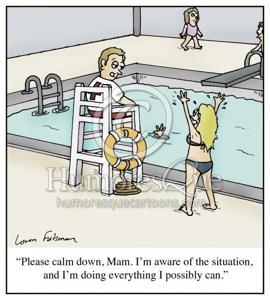 lazy lifeguard cartoon