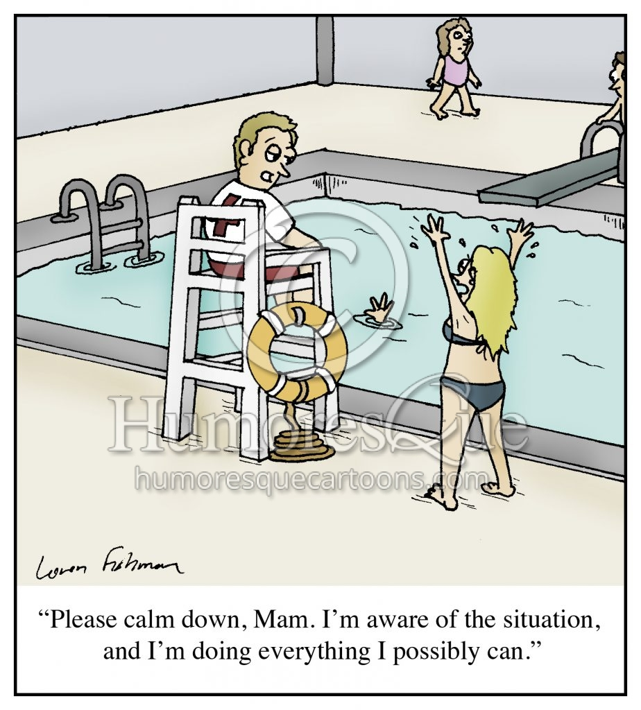 lazy lifeguard cartoon