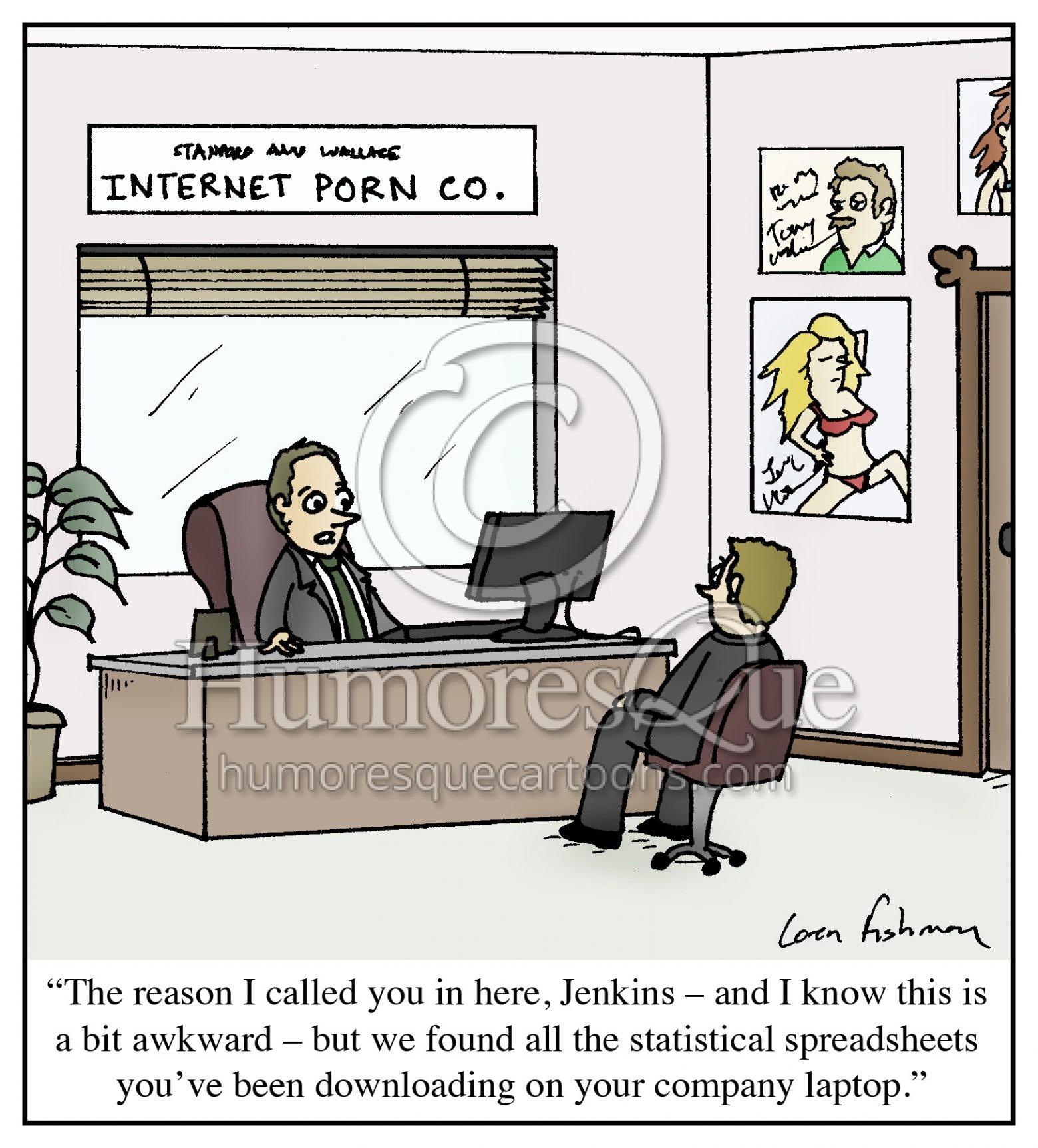 internet porn spreadsheet office cartoon