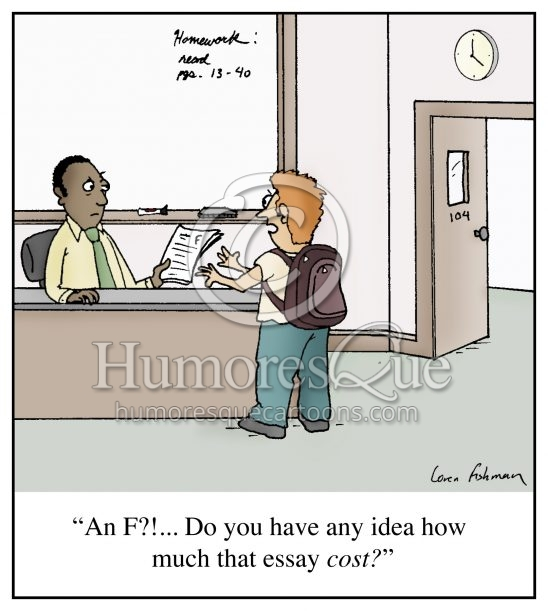 cheating buying essay school cartoon