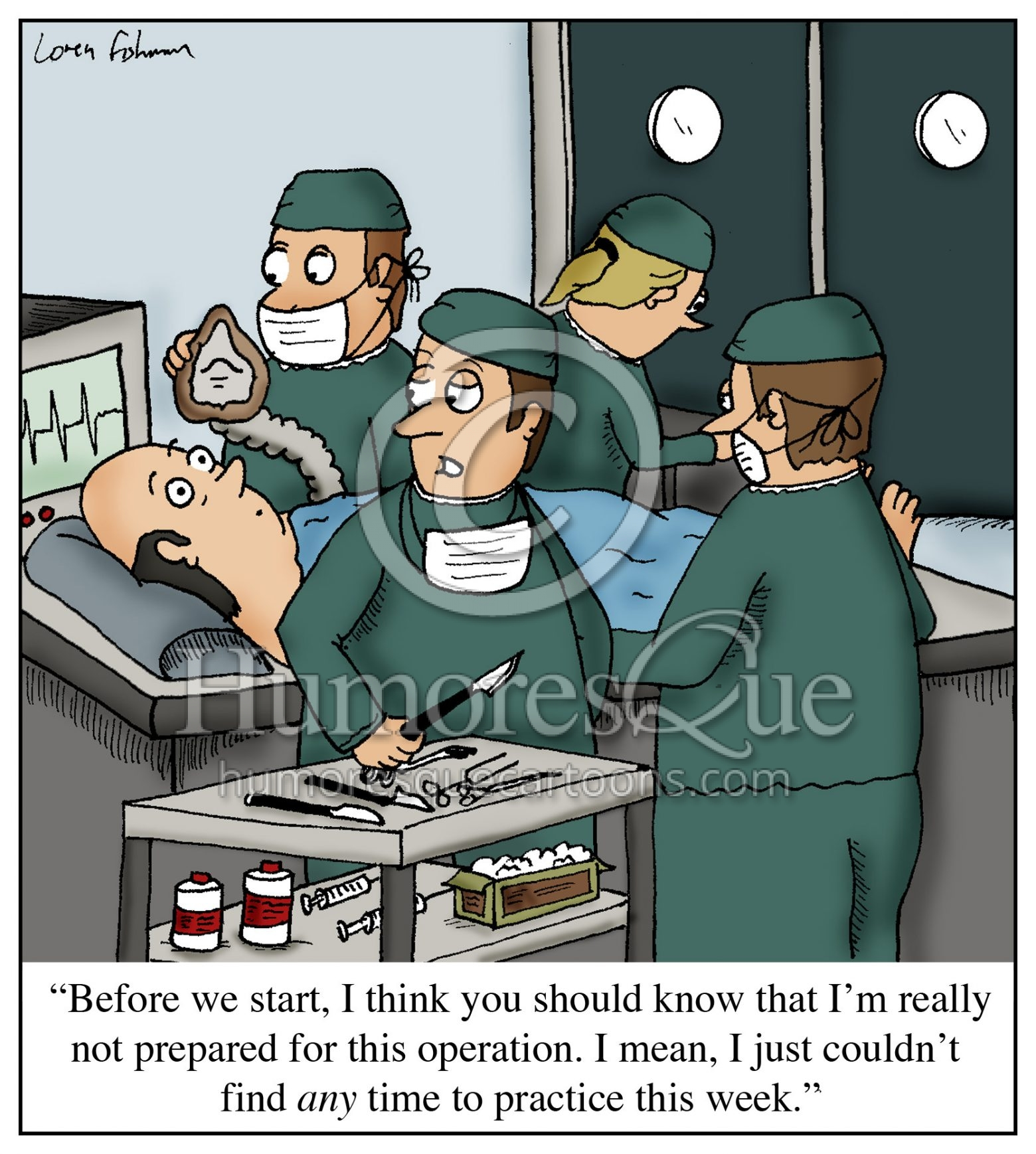no time to practice surgeon music lesson cartoon