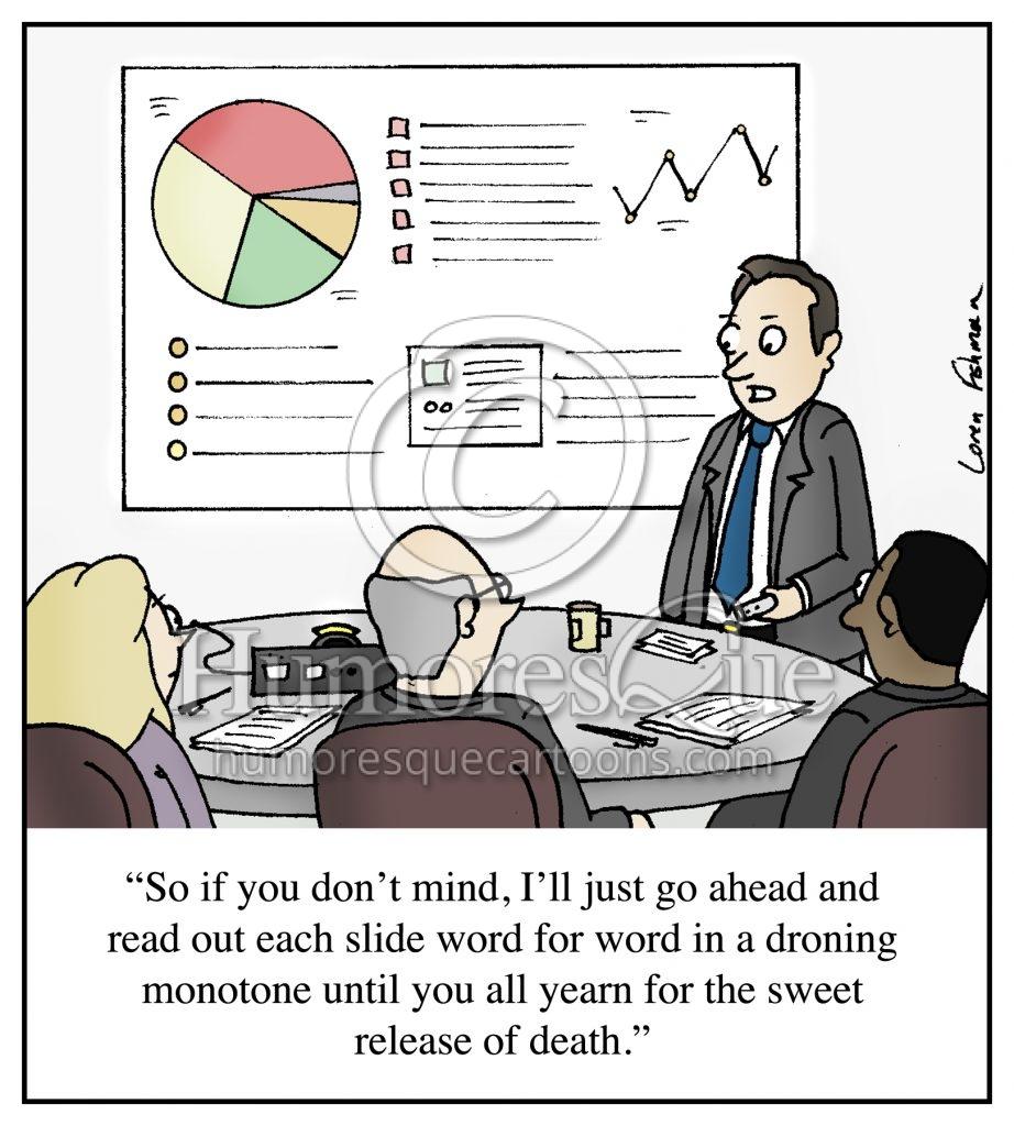 boring powerpoint presentation office meeting cartoon