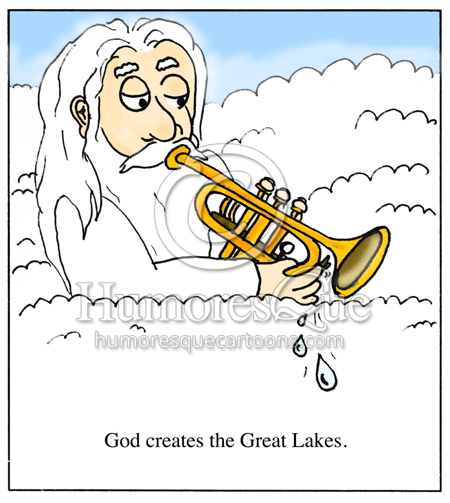 God creates great lakes trumpet spit valve cartoon