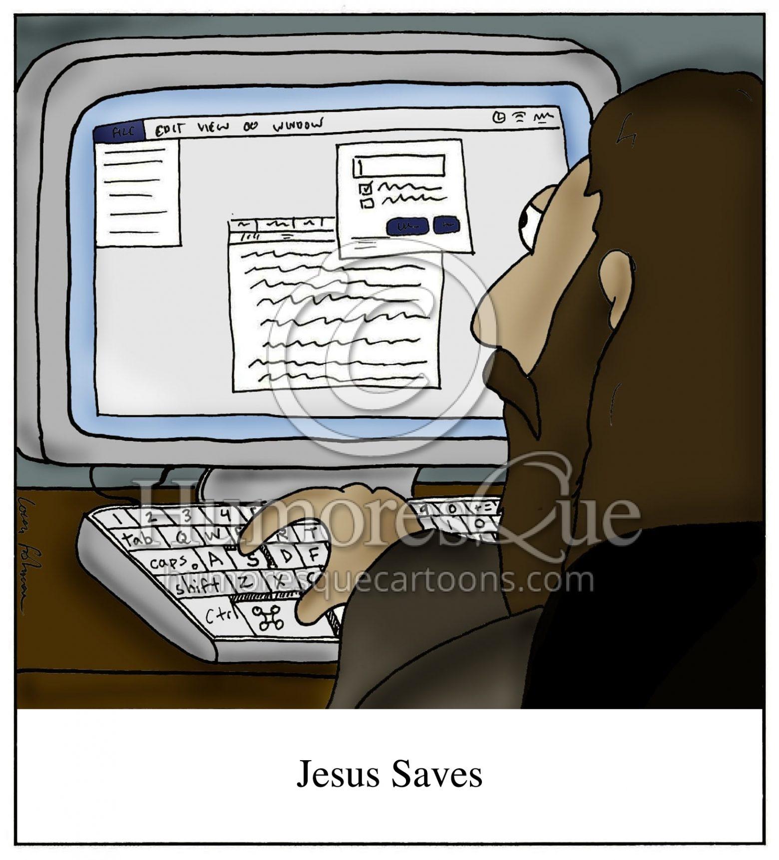Jesus saves command s computer cartoon