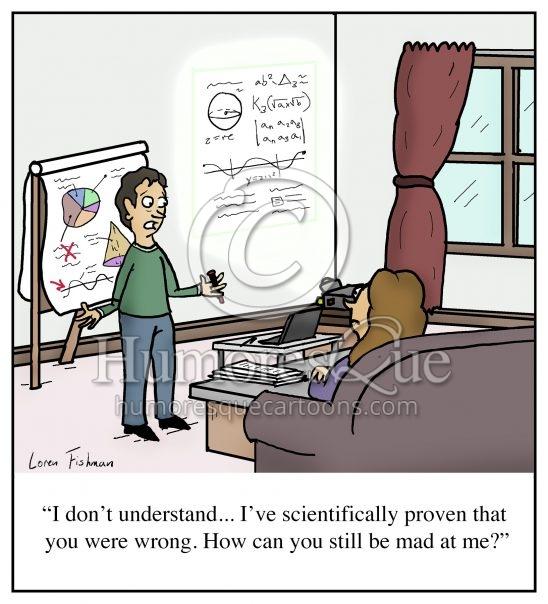 Husband always wrong marriage fighting cartoon