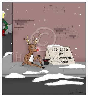 rudolf driverless cars self-driving funny christmas cartoon